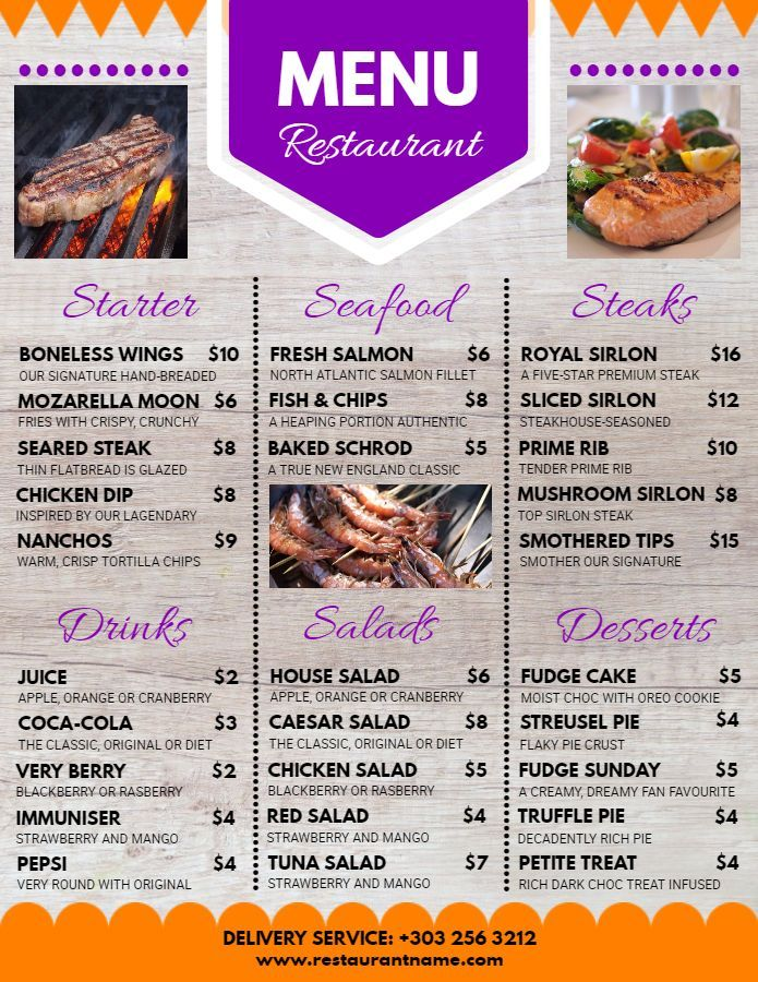restaurant menu flyer poster social media design template