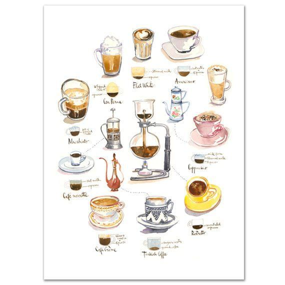 coffee art print watercolor painting kitchen wall art
