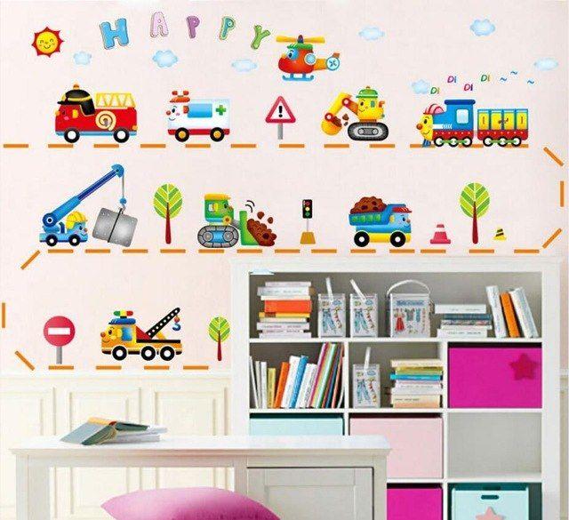 mobil kartun kamar anak stiker dinding untuk kamar anak anak kamar tidur dinding decals jendela poster