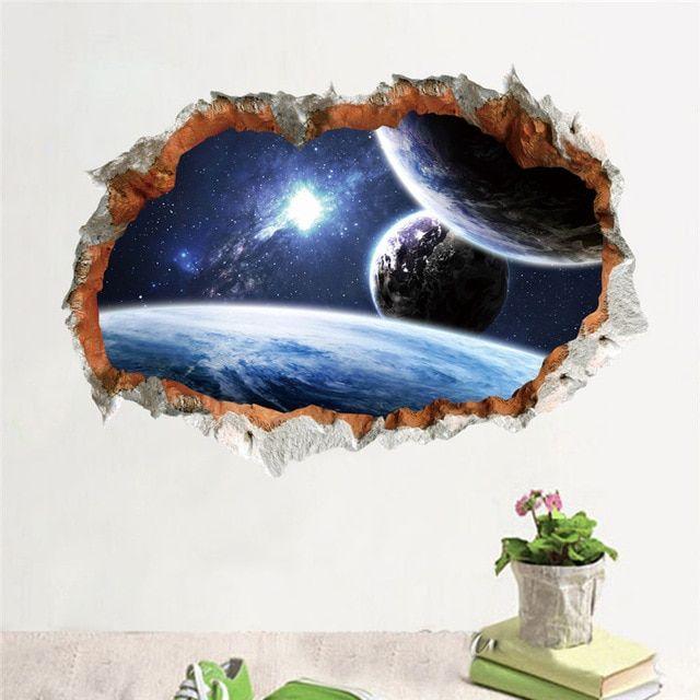 luar angkasa planet stiker dinding 3d efek melalui dinding dekorasi rumah galaxy lukisan dinding stiker living
