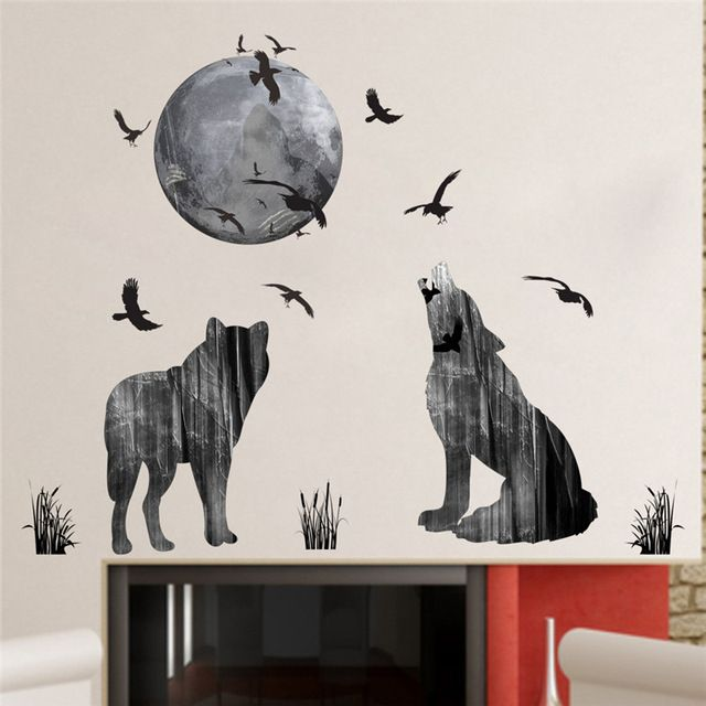 bulan hutan serigala stiker dinding pvc bahan burung hutan diy hewan poster dinding untuk anak