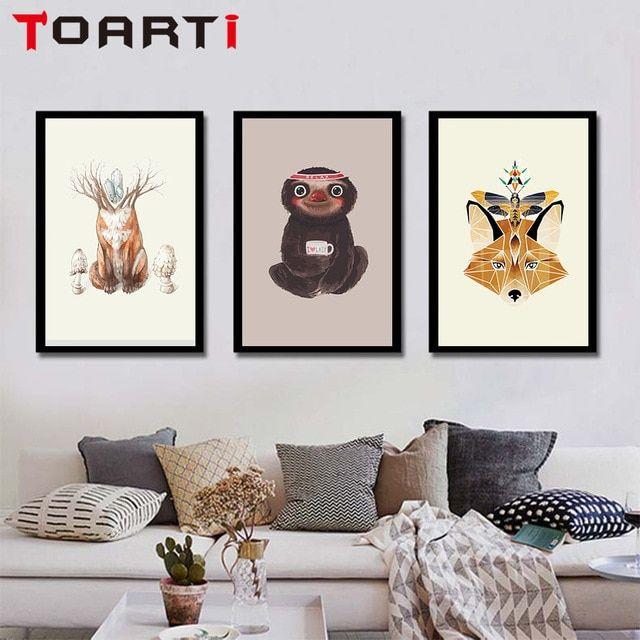 siput kanguru kanvas seni lukisan abstrak hewan kartun monyet cetak dan poster gambar dinding untuk kamar