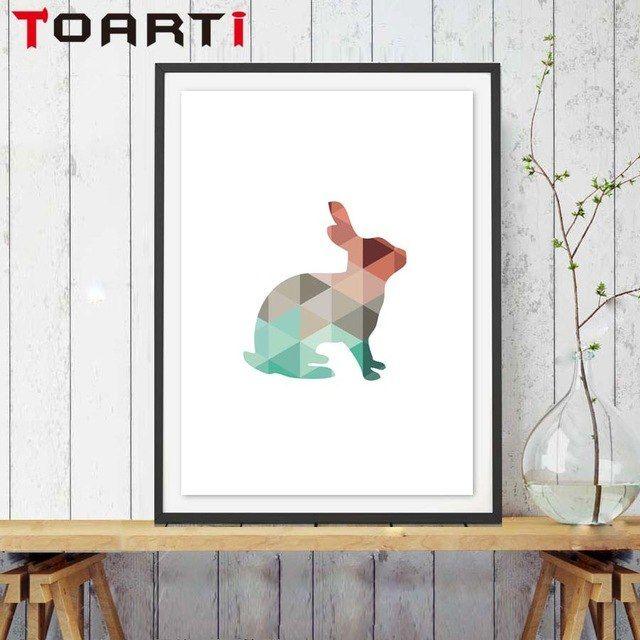 silhouette geometric hewan kelinci canvas art print poster gambar dinding kanvas lukisan no frame home decor