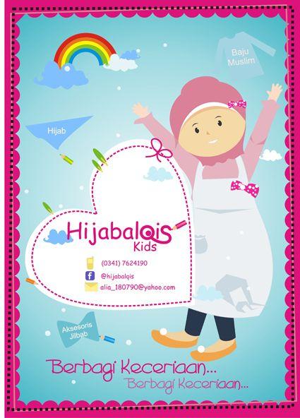 poster di atas mengiklankan produk dari hijabalqis pada poster tidak disertakan dengan contoh contoh baju atau kerudung namun pada background poster