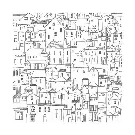 hand drawn houses black and white vector illustration card poster background drawing doodle art by koshko at allposters com