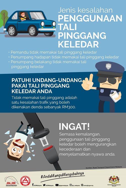laman web rasmi jabatan keselamatan jalan raya malaysia poster peraturan pemakaian tali pinggang keledar