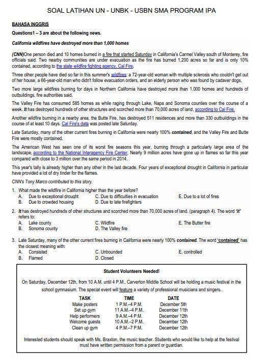 selengkapnya silahkan download soal dan jawaban latihan un unbk usbn bahasa inggris sma program ipa melalui link yang tersedia di bawah ini