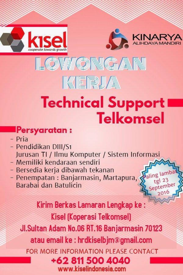 poster lowongan kerja power pt koperasi telekomunikasi seluler kisel cdc ulm