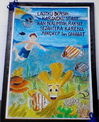 maksud dari kata kata di poster kami adalah dengan bersihnya laut maka terumbu karang juga sehat hal ini dikarenakan terumbu karang hidup pada perairan