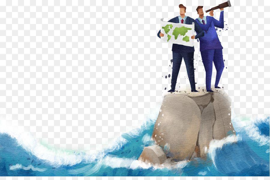 bisnis poster niaga ilustrasi pria yang berdiri di atas batu