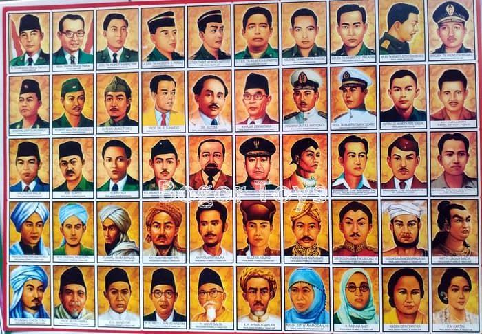 poster belajar anak mengenal pahlawan indonesia kartu potong