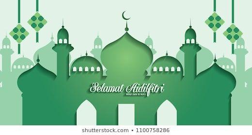 selamat hari raya aidilfitri vector illustration with traditional malay mosque caption fasting day of