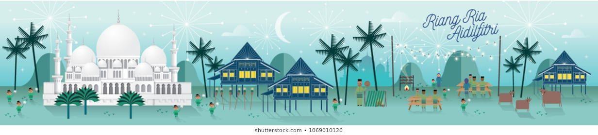 hari raya kampung scene greetings template vector illustration with malay words that mean jolly