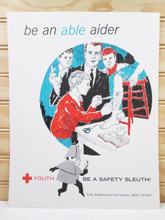 vintage school safety poster first aid american national red cross youth safety sleuth 60s illustrat