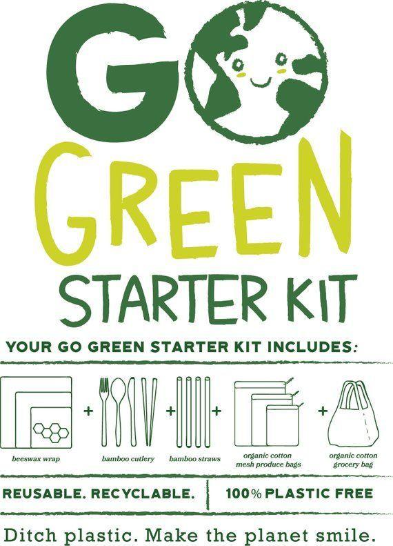 go green starter kit 16 reusable plastic free organic products zero waste wooden utensil set bees