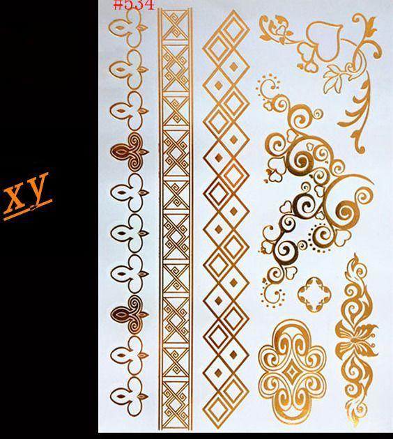 saiz kertas lukisan a3 penting u c u diy seni tubuh lukisan tato berkilauan logam emas perak kilat