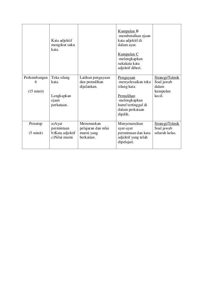 kumpulan c melengkapkan sukakata kata adjektif diberi perkembangan teka silang latihan pengayaan pengayaan strategi teknik 6
