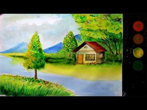 lukisan pemandangan untuk mewarna terhebat cara melukis pemandangan alam dengan cat air versi cepat youtube