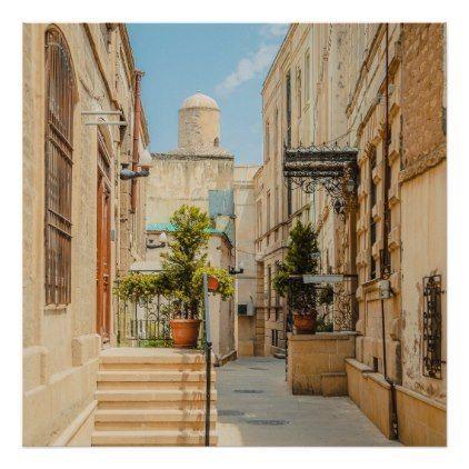 vintage sandstone architecture italian village poster