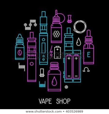 vape icons set isolated on black background vector illustration for e cigarette store t shirt print poster design vector