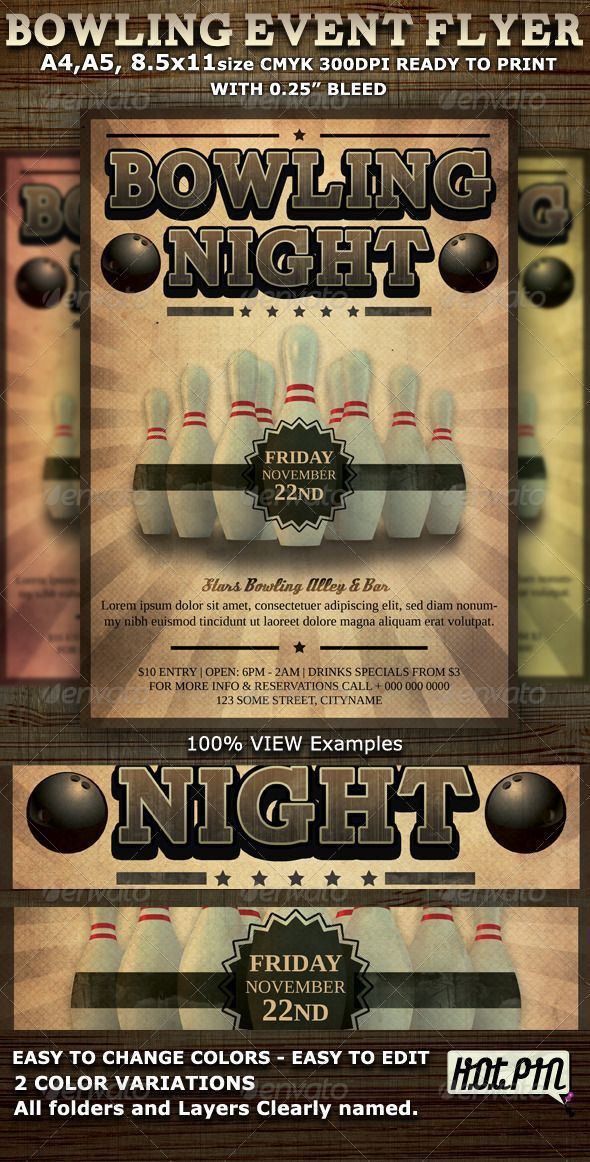bowling event party flyer template photoshop psd retro pins