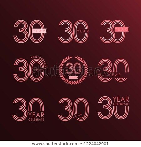 30 year anniversary set vector template design illustration
