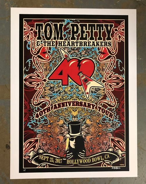 original concert poster for tom petty and the heartbreakers at the hollywood bowl in los angeles california in 2017 18 x 24 inches on card stock