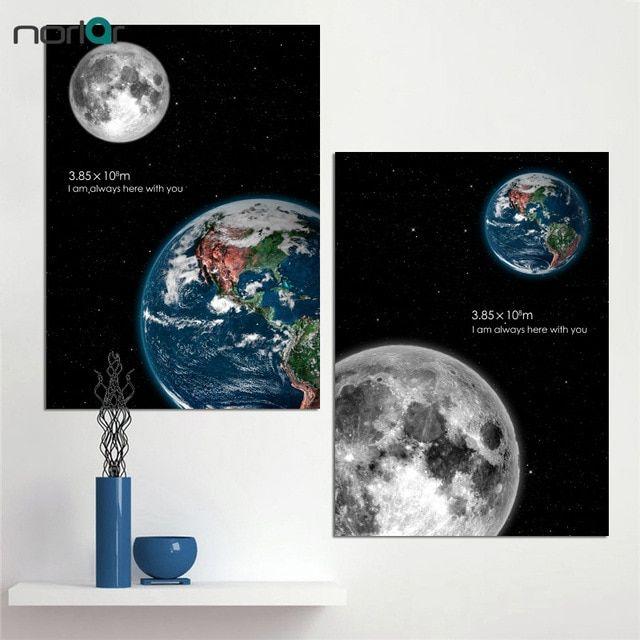 hd dicetak dinding art luar angkasa jarak antara bumi dan bulan kanvas lukisan poster art cetakan