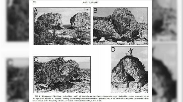 dua batu besar yang berpindah dari dasar samudera atlantik ke tebing setinggi 50 kaki paul