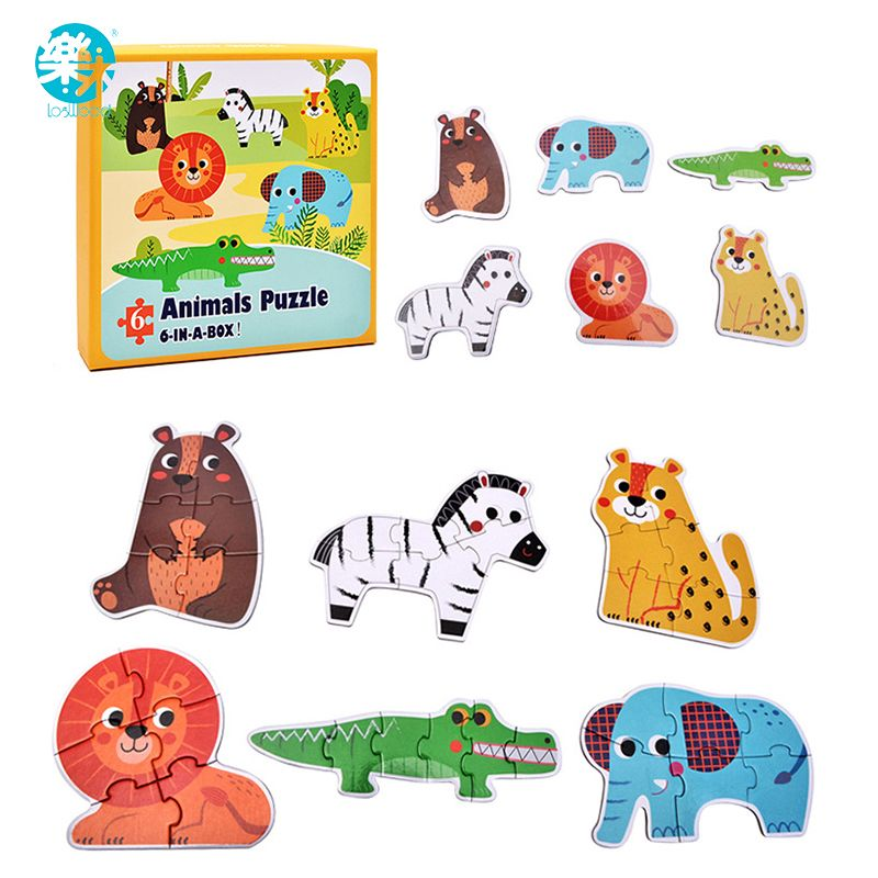 online shop to loiter bayi mainan kayu teka teki jigsaw puzzle hewan lalu lintas ikan 6 pcs dalam kotak pendidikan meja permainan hadiah aliexpress mobile