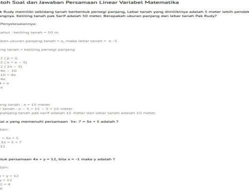 persamaan linear 1 2 3 4 variabel matematika contoh soal dan