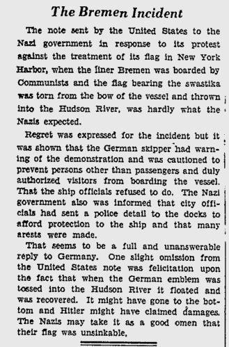 dan mencampakkannya ke dalam sungai hudson apabila duta jerman membantah pegawai as menjawab bahawa yang dirosakkan bukannya bendera kebangsaan jerman