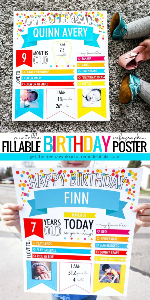 create photo memories with this free printable birthday poster downloadable birthday posters