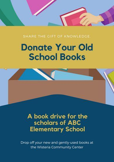 blue and yellow book donation poster canva templates donation poster templates