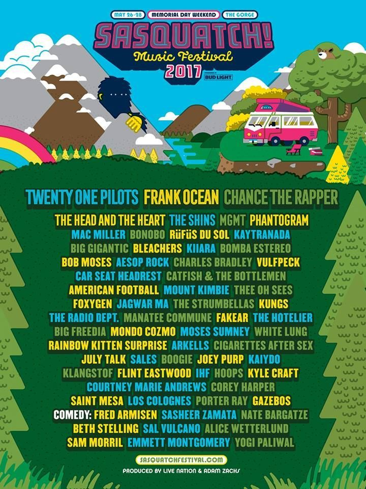 sasquatch summer camp music festival festival 2017 admission ticket unique poster music