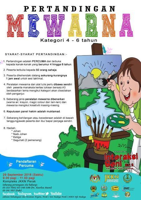 kertas lukisan kertas mewarna kanak kanak berguna jabatan kebudayaan dan kesenian negara perak pertandingan mewarna
