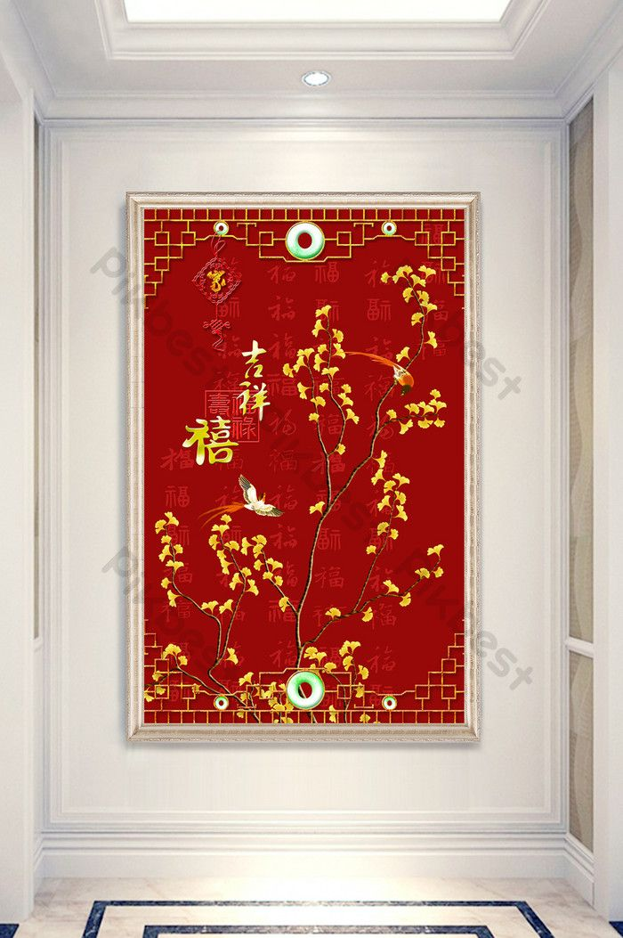 pena kraf merah cina dan gambar burung lukisan dinding porch cina