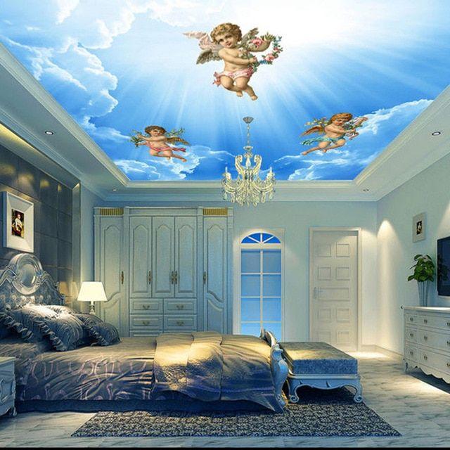 dekorasi rumah langit langit kertas dinding 3d malaikat foto sky wallpaper lukisan dinding stiker menebal