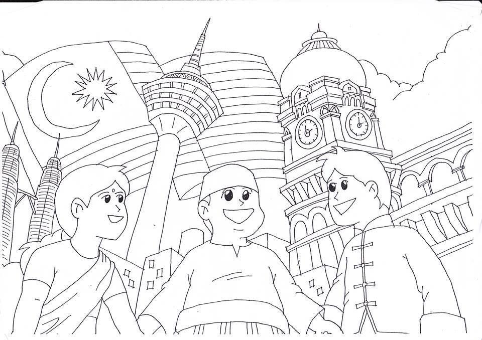 Gambar Lukisan Untuk Pertandingan Mewarna Kanak-kanak Power Jom Download Poster Mewarna Hari Merdeka Yang Power Dan Boleh Di