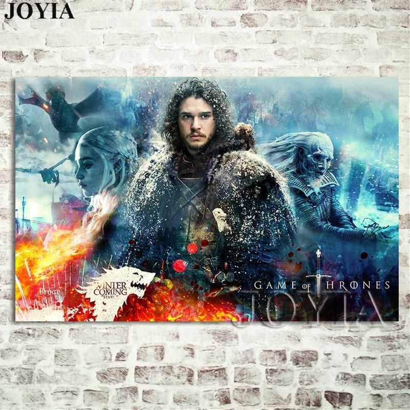 2019 season 7 wall poster jon snow prints the wall decoration picture a song of ice and fire tv canvas art from aliceer 21 41 dhgate com