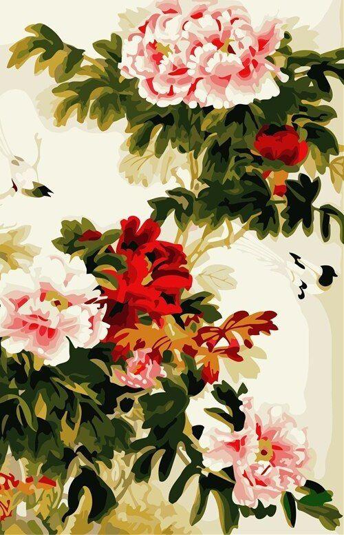 frameless wall art gambar tangan minyak diy lukisan dengan nomor dicat minyak di atas kanvas dekorasi rumah dari peony bunga hidup ruang