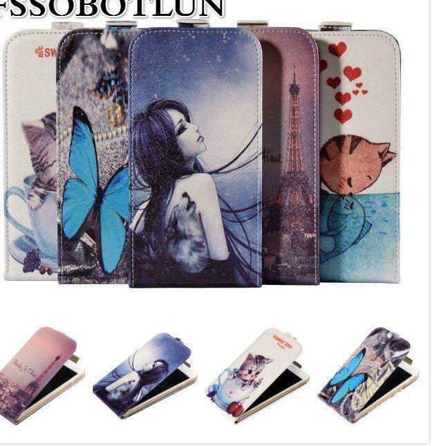 pabrik harga kualitas atas kartun lukisan vertikal flip pu kulit tas ponsel kasus untuk umi london