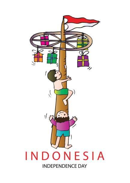 panjat pinang pole climbing indonesian independence day tradition vector art illustration