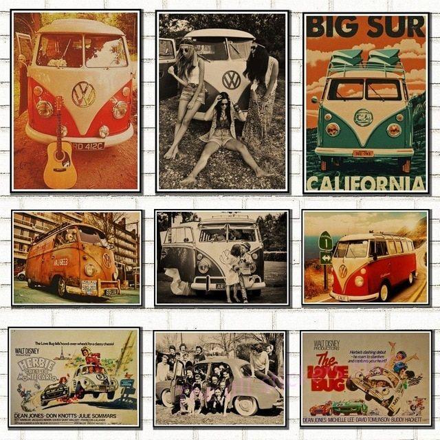 mobil volkswagen vw mobil klasik vintage poster kraft kertas vw jenis mini bus poster wall stiker