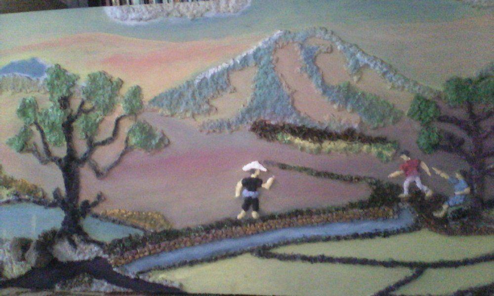Lukisan Dari Bubur Kertas Menarik Jual Lukisan Tibul Pemandangan Alam Pedesaan Di Lapak Rumah Cagar