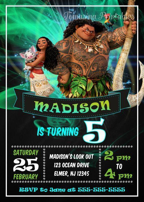 Moana Poster Baik Moana Birthday Invitation Moana Invite Printable Moana Part