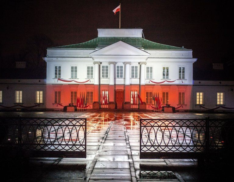 historic sites lit up to mark 100 years of poland s independence