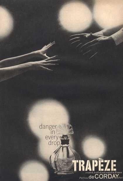 trapeze de corday danger in every drop 1959 eau de in 2019 perfume ad vintage perfume perfume
