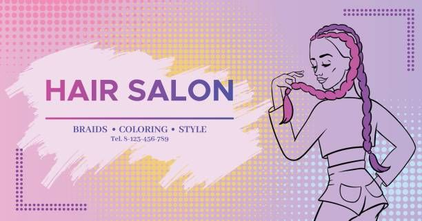 hair salon banner with pop art style girl with colored boxer braids trendy hairstyle wearing jeans