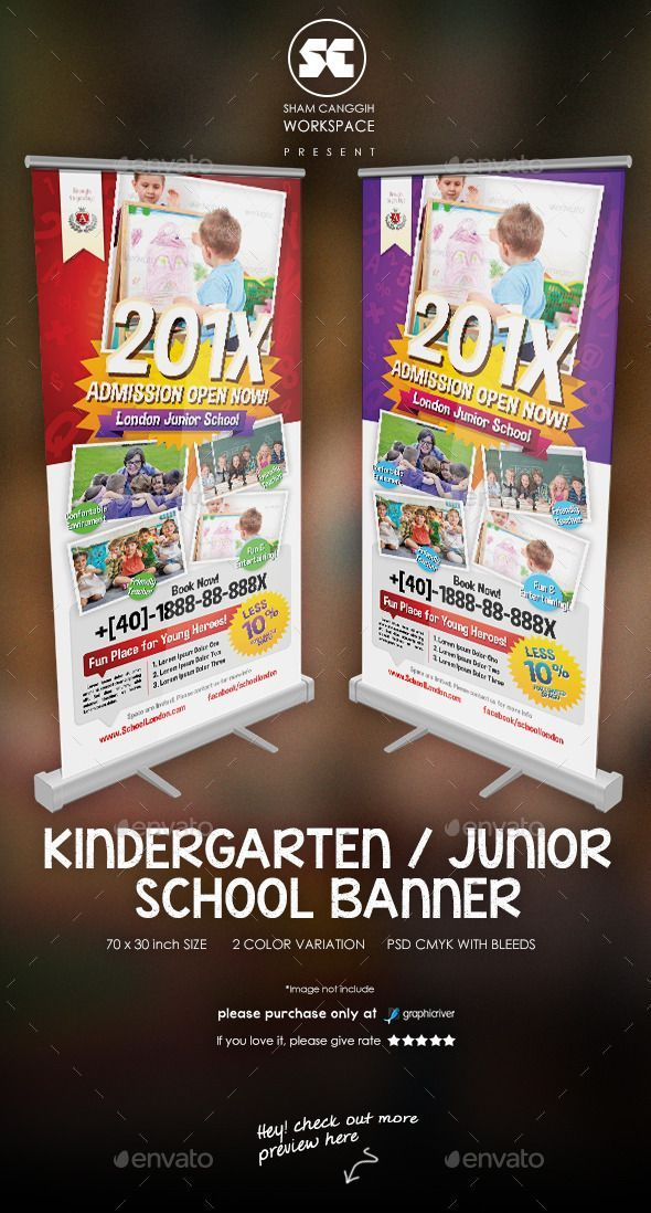 kindergarten junior school banner by shamcanggih flyer version available here banner templates designed exclusively for school kindergarten education